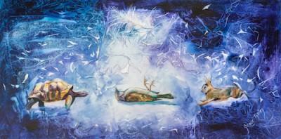 turtle, bird, rabbit, watercolour, ephemeral, spirit moving, purple