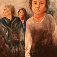 Cambodian women, slum, poverty, hope, acrylic