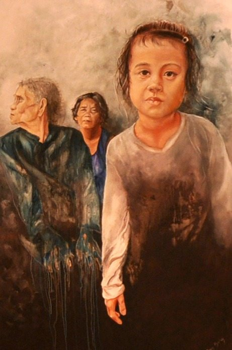 Cambodian women, slum, poverty, hope, acrylic