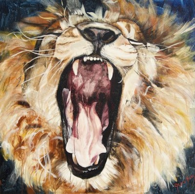 Lion of Judah roaring in victory