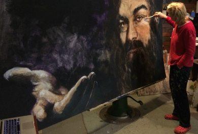 Jesus, keys to kingdom, live painting, very large portrait. Grace