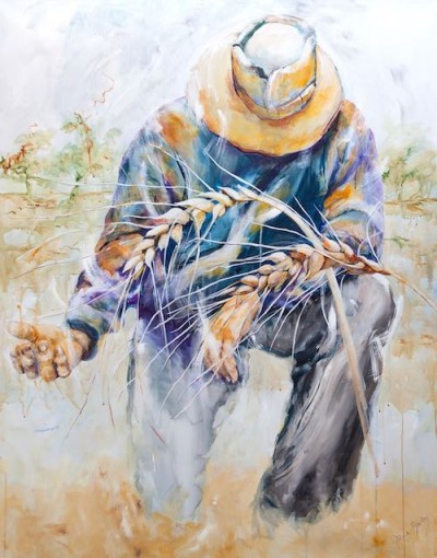 drought, wheat, prayer, farmer, painting