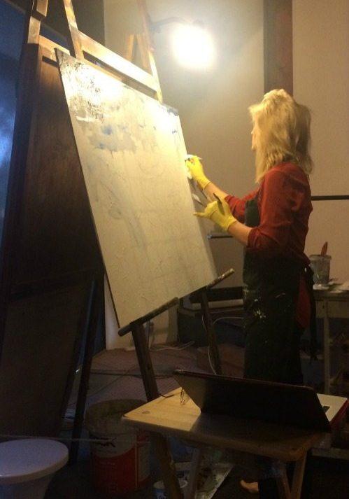 mixed media, painting live, acrylic. Grace Bailey