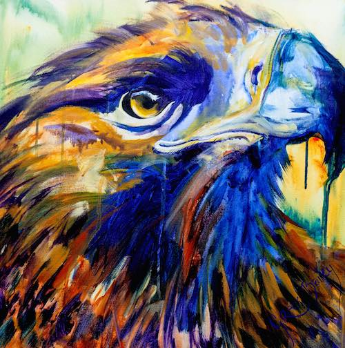 acrylic painting of vivid colour eagle
