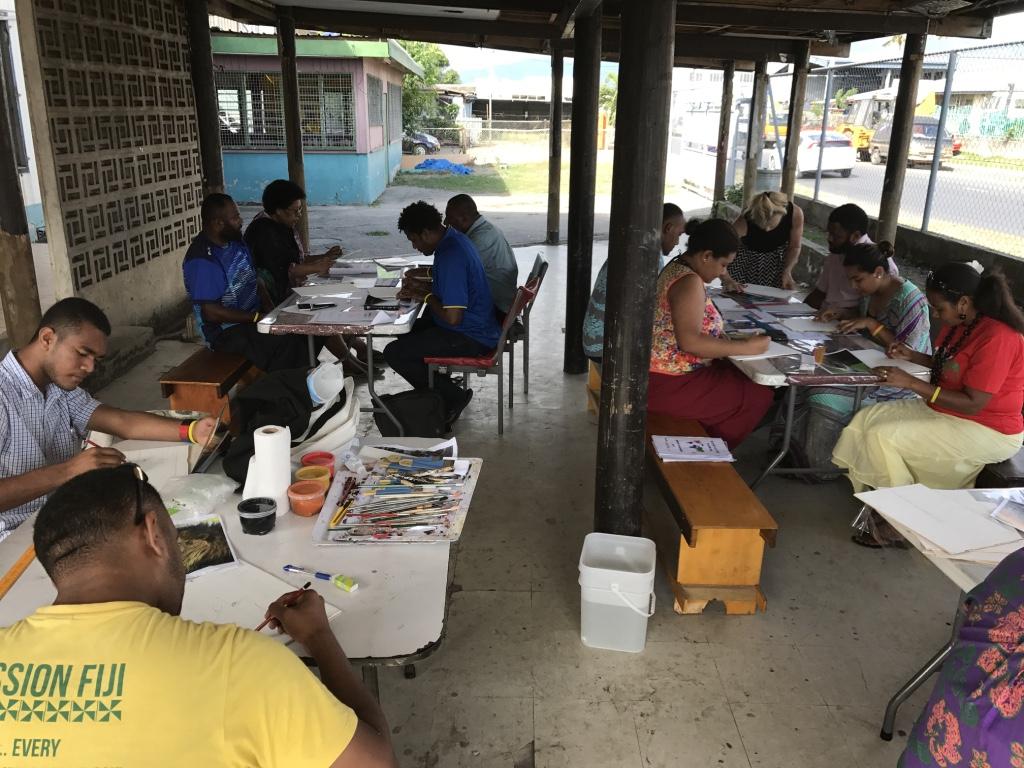 Fiji art open air art workshop