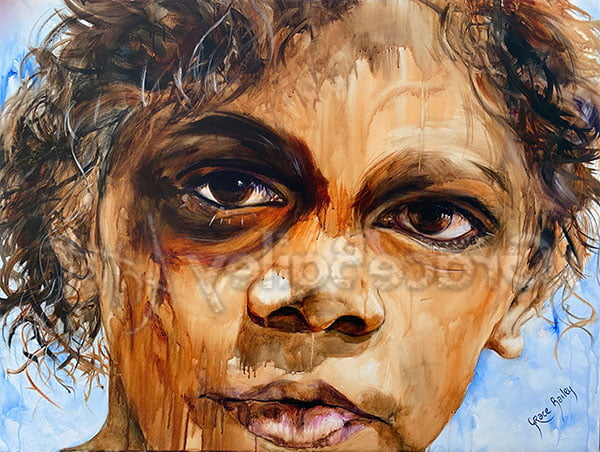 indigenous boy, deeply loved, portrait painting