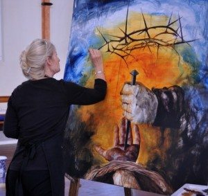 Live painting at the new event; Stations of the Cross