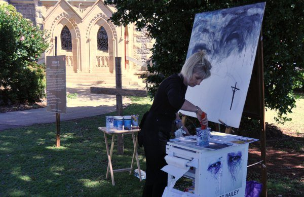 Live painting at the second event; Station 13 of the Cross