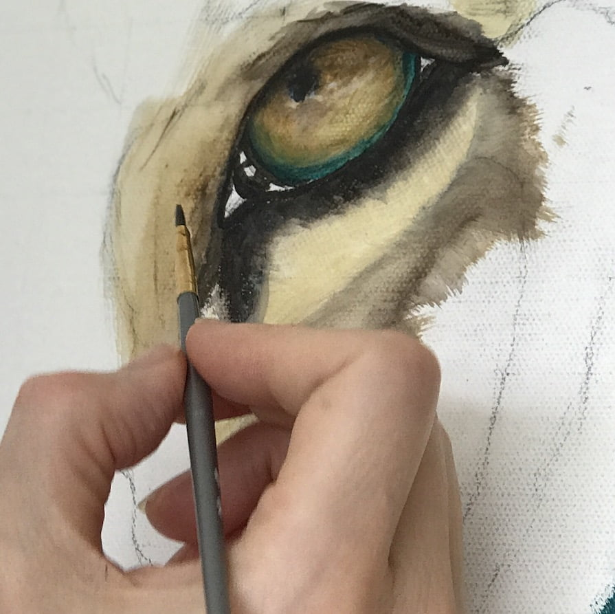 eye, lion, painting