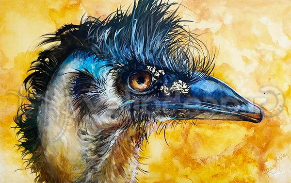emu, bird, emu bird painting