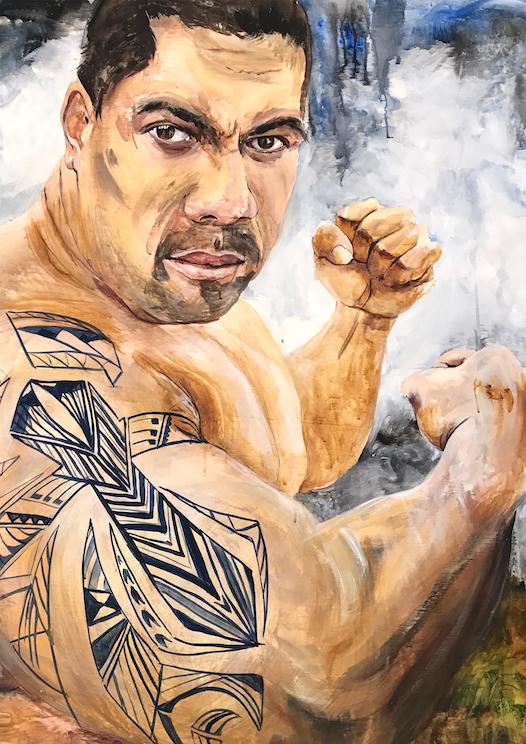 Fiji Warrior, Pugilist, fighter, cross tattoo