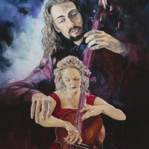 cellist, Jesus, strings player, Christian, prophetic art