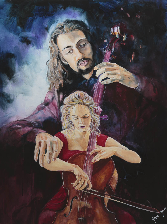 cellist, Jesus, strings player, Christian, prophetic art