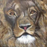 student art, lion
