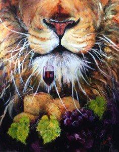 Lion of Judah, communion, bread and wine, vine