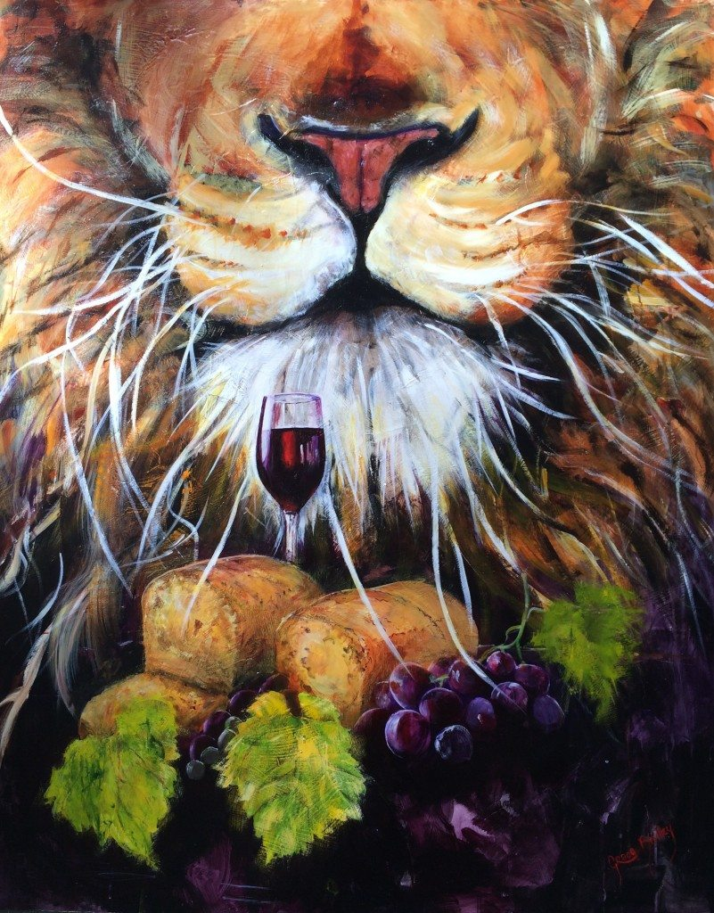 Lion of Judah, communion, bread and wine, vine