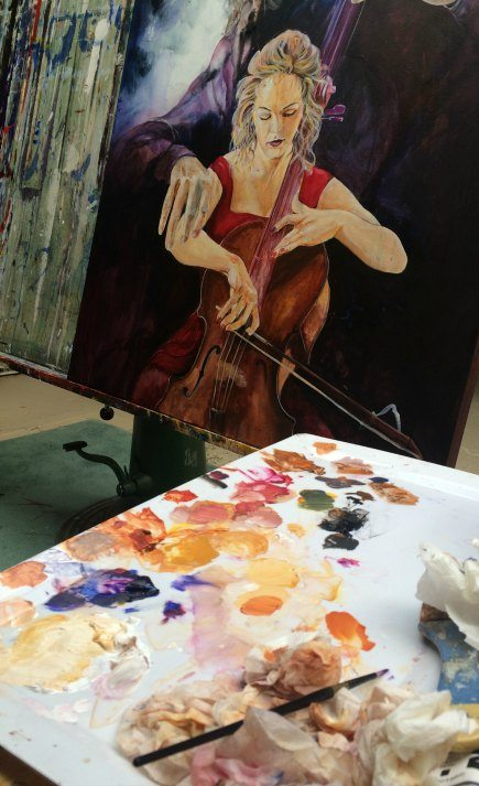 In the studio, palette