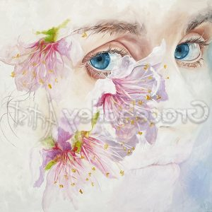 girl with the flowers, portrait painting
