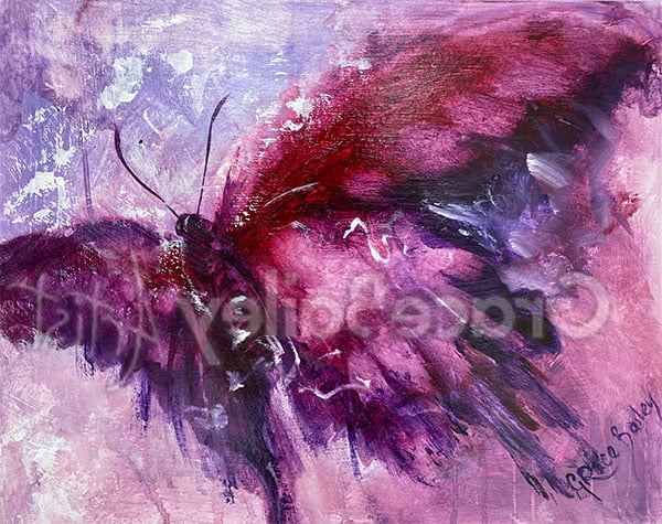 take-off, butterfly, violet butterfly, butterfly painting