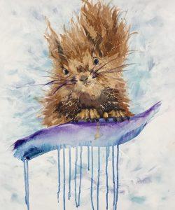 squirrel, paintig student, contemporary art