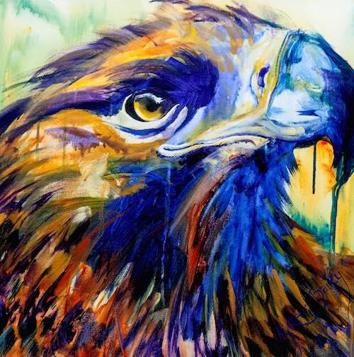 acrylic painting of vivid colour eagle