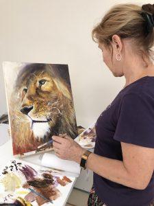 lion painting, Grace Bailey retreat