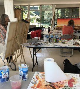 Grace Bailey painting retreat, stolen shots to our painters